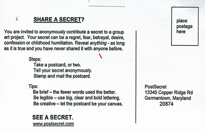 How to mail to PostSecret